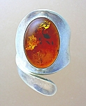 Click to view larger image of Sterling Silver and Cabochon Amber Ring (Image1)