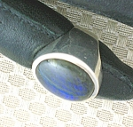 Click to view larger image of Sterling Silver Hand Made Ring from Peru Blue Tan Stone (Image1)