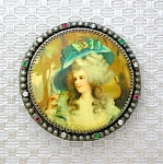 Lucite Paste/Rhinestone Cameo Brooch Brass Set
