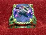 Click to view larger image of Ring 14K Gold Sterling Silver and Amethyst  Mark AE 14K (Image3)