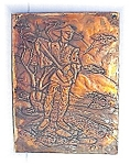 Click here to enlarge image and see more about item 0911200565: Copper Picture Of Oriental Male Lute Player