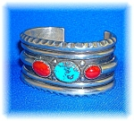 Click here to enlarge image and see more about item 09112006204: Native American  Silver Turquoise Coral Cuff 60s