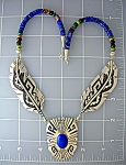 NecklaceTOMMY SINGER Sterling Silver  Feathers Lapis