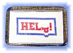 Click here to enlarge image and see more about item 0913200585: Vintage Glass Cross Stitch Paperweight