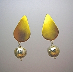 Sterling Silver Mexico Vermeil Hammered Dangle Earrings