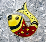 Sterling Silver Vermeil Enamel D-A Norway Fish Pin.