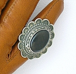 Click to view larger image of Sterling Silver Black Onyx Native American Ring. (Image1)