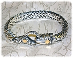 Click to view larger image of BraceletSterling Silver Gold Accent Lobster Hook Signed (Image1)