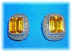 Click to view larger image of Earrings Sterling Silver Golden  Citrine Clip  (Image1)