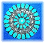 Click to view larger image of Sterling Silver Turquoise Signed JW 3 1/8 inch Brooch (Image1)