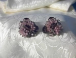 Clip Earrings Silvertone Filigree Set Pink Bead
