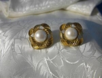 Avon Goldtone Earrings Large Faux Pearl & Scrolled