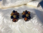 Germany Clip Earrings Black/Amber Plastic/Lucite