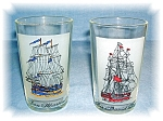 Click here to enlarge image and see more about item 0915200520: PAIR VINTAGE SHIP DECOR GLASSES