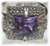 Click to view larger image of Vintage Silver Marquisite & Amethyst Ring (Image5)