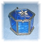 Click here to enlarge image and see more about item 09162005248: Glass Trinket Box Leaded  Handmade Blue