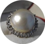 Ring  14K White Gold Mabe Pearl Signed Love Bright