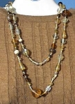 Amber Grey Clear Glass Hearts Bead Necklace 48 Inch.