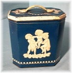 Vintage Blue & White Collector Biscuit Tin En