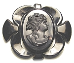 Click to view larger image of  Black 3 Inch Bakelite Cameo Brooch (Image1)