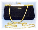 Click to view larger image of Bag St John Black Velvet Evening Gold Chain (Image1)
