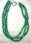 Turquoise Blue Green Sterling Silver Clasp Necklace