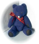 Click here to enlarge image and see more about item 0918200242: Vintage Hand Made Blue Felt Teddy Bear