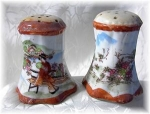 Heavy & Old Oriental China Salt & Pepper
