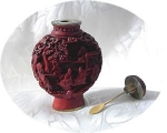 Click here to enlarge image and see more about item 0918200252: Oriental Cinnabar Snuff Bottle