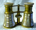 Click here to enlarge image and see more about item 0918200257: FRENCH Brass & Mother Of Pearl Opera glasses