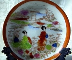 Click here to enlarge image and see more about item 09182002: Small Oriental Hand Painted Plate