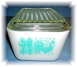 Click here to enlarge image and see more about item 0918200515:  PYREX REFRIGERATOR DISH WITH LID TURQUOISE
