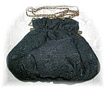 Click to view larger image of Vintage Black Satin & Silk Evening Bag China (Image1)
