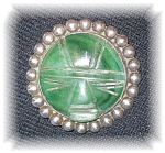 Click to view larger image of Fabulous Vintage Mexican Jade & Sterling Pin (Image1)