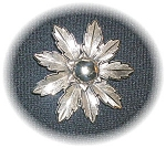 Click to view larger image of Large Signed Bell Nickel Silver Flower Brooch (Image1)
