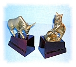 Click to view larger image of Brass Wall Street Bull and Bear Wood Base Ornaments (Image1)