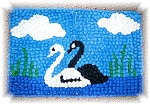 Click here to enlarge image and see more about item 0918200590: Handmade Candlewick Black & White Swan Rug