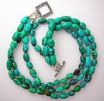Turquoise Sterling Silver 3 Strand Artist Necklace USA
