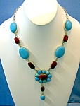 Click to view larger image of Sterling Silver Turquoise Coral Necklace Tibet (Image1)