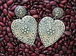 Sterling Silver Heart FOREE Signed Clip Earrings