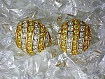 Earrings Kenneth J Lane Gold and Rhinestone Clip