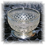 Click here to enlarge image and see more about item 0920200540: PRESSED GLASS BOWL WITH SILVER PLATE BASE
