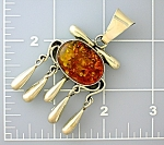 Click to view larger image of Pendant Sterling Silver Golden  Amber Tassle  (Image1)