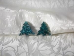 Sparky Green Plastic Lucite Christmas TreeClip Earrings
