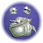 Click to view larger image of GUMPS Sterling Silver Brooch & Earrings CINI (Image1)