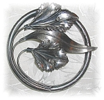 Click to view larger image of 3 Inch Across Sterling Silver Lily Brooch (Image1)