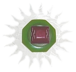 Click to view larger image of Bakelite Apple Green & Red Artist Button Pin (Image1)