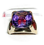 Ring 10K Gold Huge Amethyst Garnet Ring