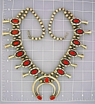 Click to view larger image of Native American Coral Sterling Silver Squash Blossom (Image1)