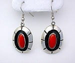 Native American Coral Sterling Silver Earrings